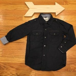 Nautica Charcoal Gray Button Down Flannel Size 4T